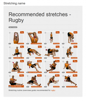 Stretching posters: Rugby