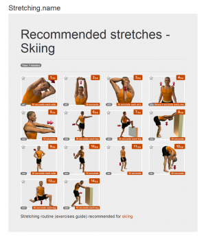 Stretching posters: Skiing